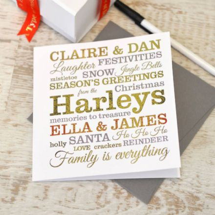 Personalised Metallic Typographic Christmas Card